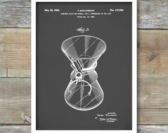 Coffee Pot Patent, Chemex Coffee Pot Poster, Coffee Pot Print, Chemex Coffee Pot Art, Coffee Pot Decor, Coffee Pot Blueprint, P175