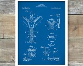 Zipper 1917 Patent Print, Fashion Illustration, Fashion Poster, Invention, Zipper Pull, Boutique Decor, Fashion Art, P275
