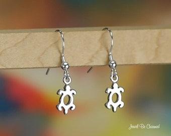 Tiny Petroglyph Turtle Sterling Silver Earrings Pierced Earwires .925