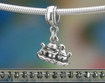 Sterling Silver Tea Set Charm or European Style Bracelet Tea Service