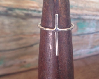 Silver Stacking Cross Ring