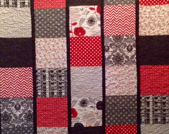 Quilt, black, grey and red patchwork handmade lap quilt