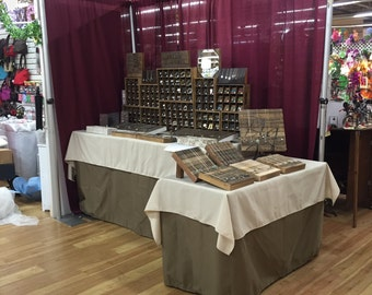 Custom Made 4' and 6' Khaki Fitted Tablecloth Table Cover Tradeshows Craft Fairs