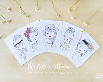 Set of 5 postcards The Ladies Collection - Limited Edition