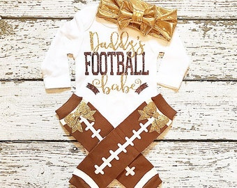Baby girl clothes (shirt/bodysuit only/accessories separate) brown and gold baby girl clothing Football babe newborn gift baby shower