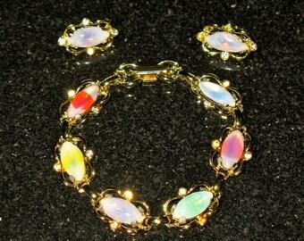Vintage Sabrina Rhinestone Bracelet and Clip on Earring Demi-Parure Set