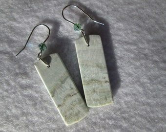 Earrings Hemimorphite, Swarovksi Crystals and Sterling Silver