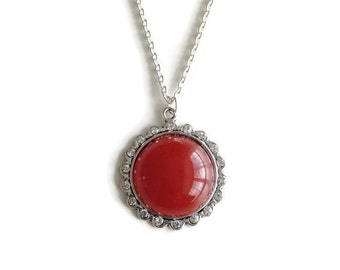 Red Pendant Necklace, Pendant Necklace, Silver Chain Necklace, Large Pendant, Round Pendant, Statement Pendant, Rhinestone Pendant, Necklace