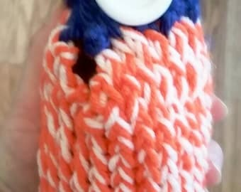 Blue Orange and White Bottle Koozie -Lettering available-