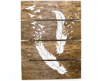 Merveilleux Wood Pallet Sign, Boho Home Decor, Rustic Wood Wall Art, Feather And Bird