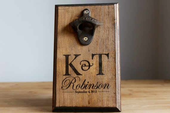 Personalized wall mount bottle opener rustic bride groom - Personalized wall mount bottle opener ...