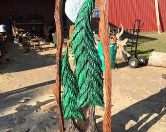 4.5' Welcome Tree Slab -Wood Art, Wooden Sculpture, Wood Carving - Chainsaw Carved Tree, carved by wildlife family artists - Free Shipping!