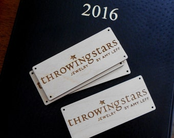 Custom Shelf Tags, Name Labels, laser-engraved personalized name labels, company logo tags, wood name tags, 20 name tags discounted