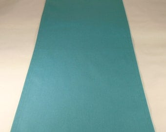 Turquoise Table Runner, Cotton Home Decor Runner, Blue Table Runner