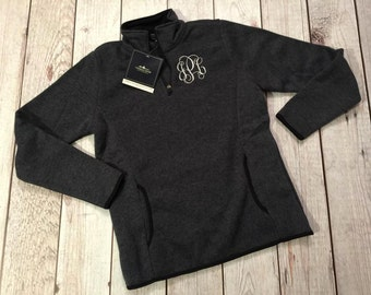Monogrammed Charles River Heathered Pullover