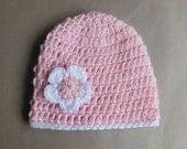 Baby Girl Crochet Beanie Hat, with a cute flower - Newborn - Pink - Handmade