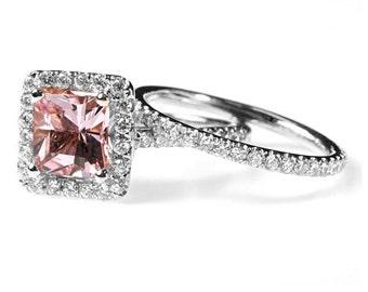 1.87 cttw 18k White Gold Princess Morganite Diamond Halo Bridal Set