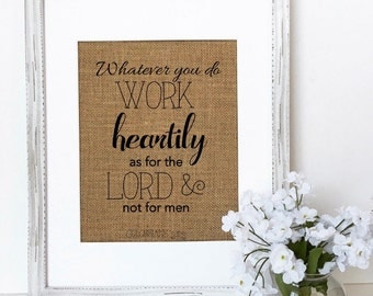 Whatever you do work heartily, as for the Lord and not for men / christian bible verse / christian gift / pastor appreciation / Ministry /