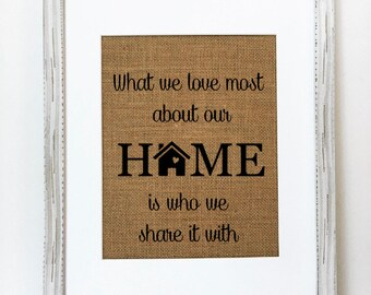 What we love most about our home is who we share it with / housewarming gift / new home/ birthday gift / family sign / christmas gift idea /