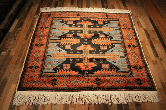 Turkish Rug Square Rug 5x5 Rug Hand Knotted Tribal Rug