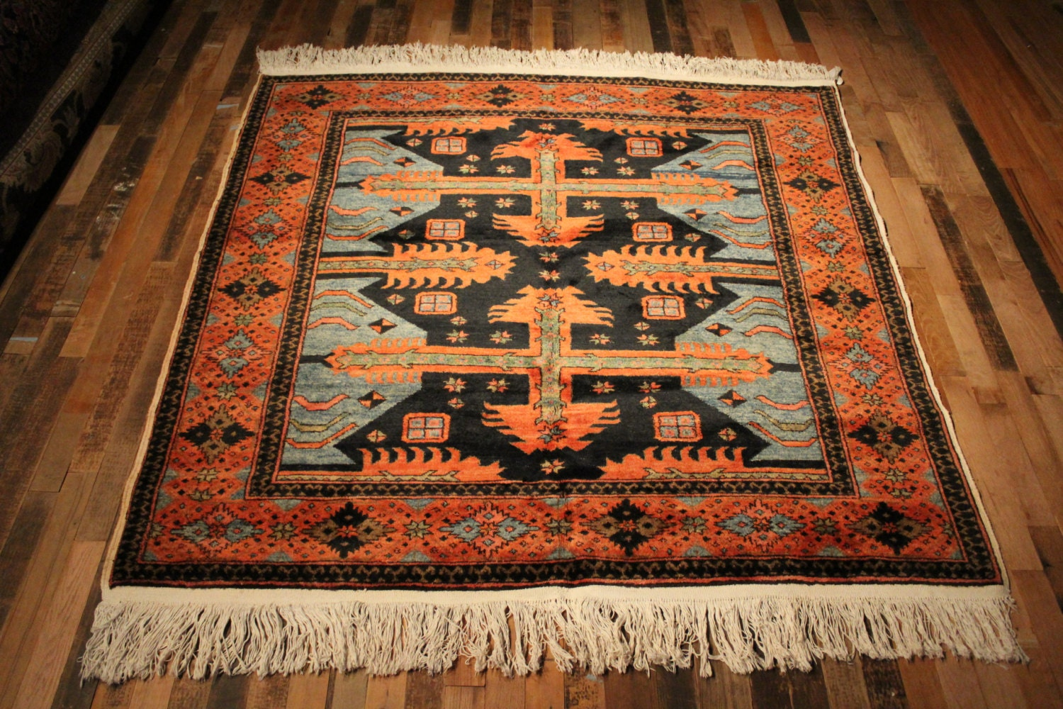 Turkish Rug Square Rug 5x5 Rug Hand Knotted Tribal Rug