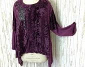 New ladies plus size velvet top with gothic appliqué. Luscious  purple
