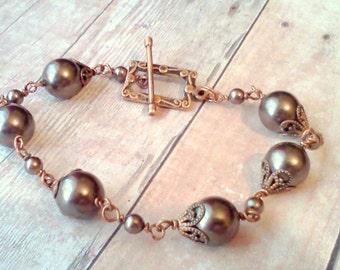 Swarovski Pearl Bracelet, Brown Pearl Bracelet, Autumn Jewelry,  Pearl and Copper Bracelet, Brown Swarovski Bracelet, Vintage Style Bracelet