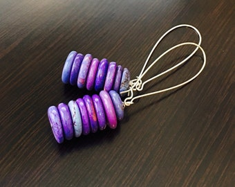 PURPLE TURQUOISE Earrings HEISHI Stack - Long Purple Earrings - Purple Gemstone Earrings - Silver Kidney Hoop Dangle Earrings