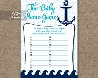 baby name game aqua nautical baby shower game nautical baby name game navy blue aqua white printable shower games rnta - Baby Chair With Name