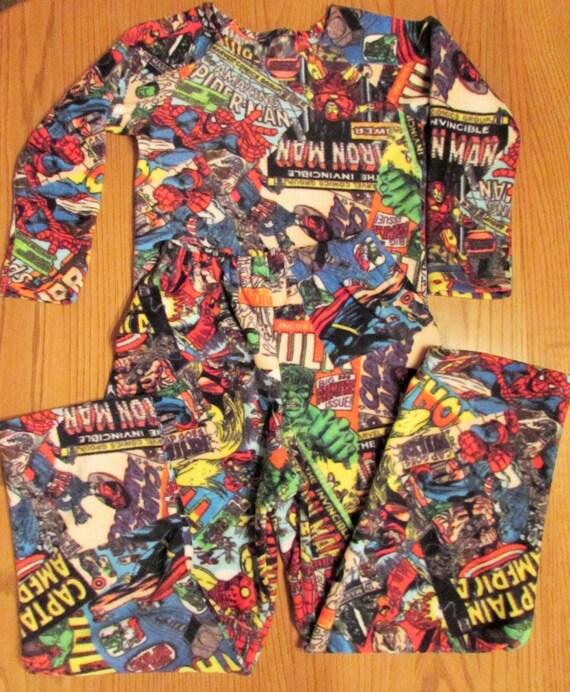 Fleece marvel comic pajamas/  7  prints character fleece