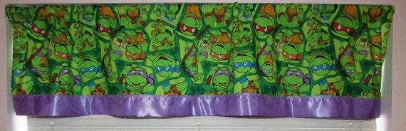 Ninja Turtle curtain/ satin edge/cotton valance/purple satin edge