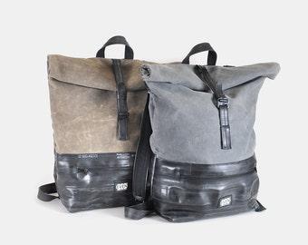 Hans: Waxed canvas reclaimed bike inner tube roll top backpack