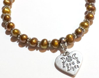 Goddess Jewelry, Stretch Bracelet, Brown Pearls, Wiccan, Pagan, Witch, Metaphysical, Reiki Healing, Gemstone, Love and Light, New Age, Moon