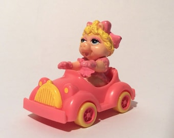 Vintage 1986 Baby Miss Piggy, Muppet Babies, Figurine in Pink Car, Happy Meal Toy, Cake Topper