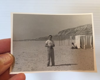 PICTURE of MAN on BEACH,vintage photo gentleman on beach, black & white photo of individual man,beach picture,beach photograph,vintage photo