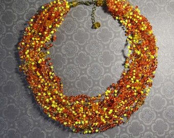 Airy seed beads necklace Multistrand Necklaces Floating necklace