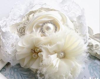 ON SALE Infant Baptism Headband, Girl's Christening Headband, Ivory Silk Flower Headband