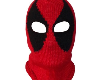 Deadpool Mask, Marvel Beanie Mask-Red Hood Mask- Superhero Mask- Movie Merc Newborn Child Teen - Halloween / Cosplay