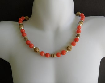60s Necklace Homemade Necklace Faux Coral Necklace Rockabilly Necklace Beaded Chocker Pin Up Jewelry Coral Pearl Necklace Under 10 Dollars