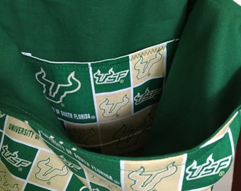 Reusable Bag, grocery / campus shopping bag: USF Bulls print with matching lining and pocket