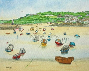 St Ives cornwall boats Harbour seaside watercolour mounted print uk scene uk seller