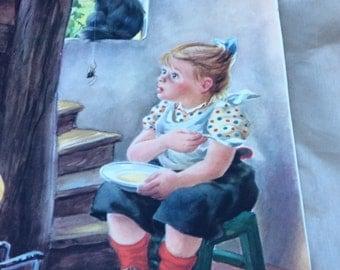 Vintage 30's prints of Little Miss Muffett, Little Tommy Tittlemouse, Rain Rain Go Away