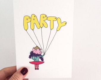 SALE! Party Pig In A Tutu Birthday Card