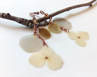 Real Flower Jewelry - Hydrangea Earrings - Botanical Jewelry - Hydrangea Jewelry - Pressed Flowers - Nature Jewelry