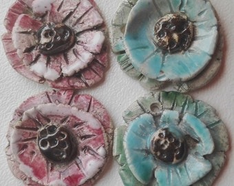 Ceramic Bead Pair -Earring Bead Pair  Earring Dangles Flora Earrings