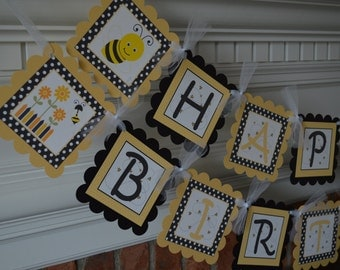 Bumble Bee Birthday Banner - Bee Party - Bumble Bee Party Banner  - Honey Colored - Party Packs Available