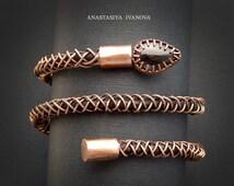 Copper bracelet with onyx / bracelet snake /wire wrapped bracelet /a gift for a woman