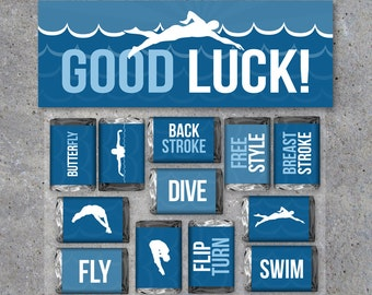 Swimming Good Luck Gift – Swimming Mini Candy Bar Wrappers and Matching Treat Toppers – Swim Team – Printable Files – Instant Download