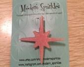 Glitter Lucite single starburst brooch - baby pink - retro - atomic - sweater pin - 1950s