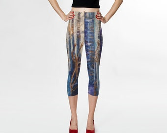 Printed leggings, fashion leggings, capris, women's pants, yoga pants, jeggings, printed tights, birch tree leggings